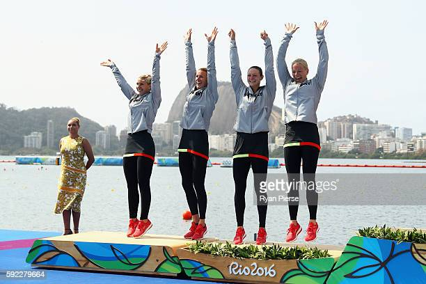 Sabrina Hering of Germany Franzi Weber of Germany Steffi Kriegerstein of Germany and Tina Dietze of Germany celebrate winning silver in the Women's...