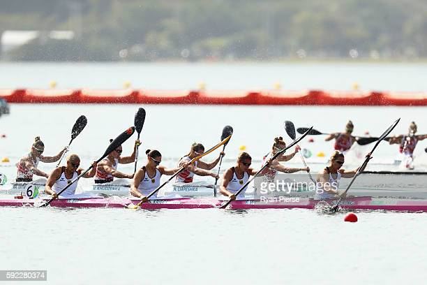 Sabrina Hering of Germany Franzi Weber of Germany Steffi Kriegerstein of Germany and Tina Dietze of Germany compete in the Women's Kayak Four 500m on...
