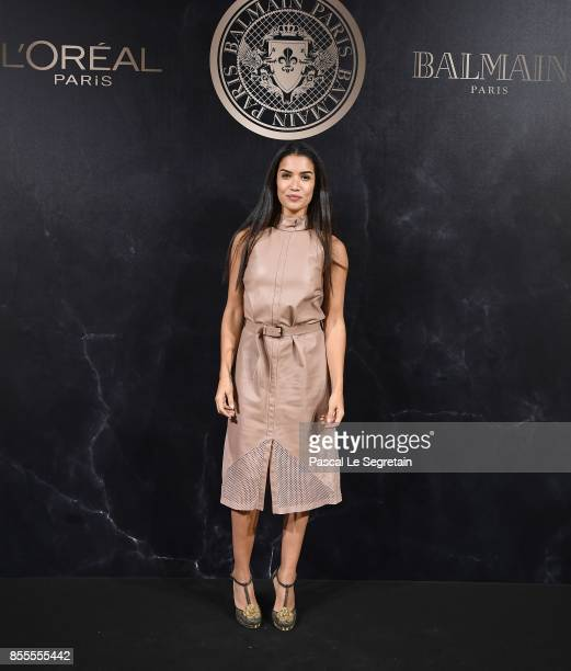 Sabrina Ouazani attends the L'Oreal Paris X Balmain event as part of the Paris Fashion Week Womenswear Spring/Summer 2018 on September 28 2017 in...