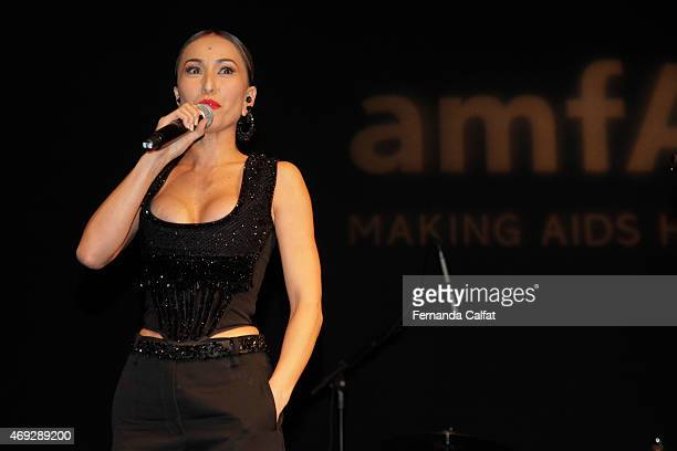 Sabrina Sato attends the 5th Annual amfAR Inspiration Gala at the home of Dinho Diniz on April 10 2015 in Sao Paulo Brazil
