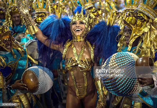 Sabrina Sato of Vila Isabel samba school performs during the second night of the carnival parade at the Sambadrome in Rio de Janeiro on february 08...