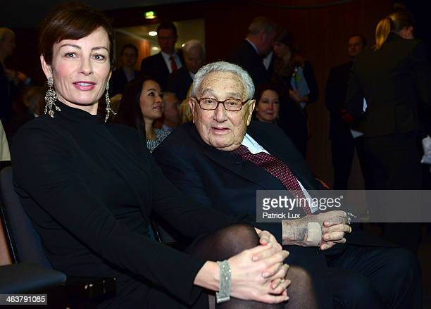 Sabrina Staubitz and former US Secretary of State Henry Kissinger attend a celebration hosted by Die Zeit newspaper on the occasion of Schmidt's 95th...