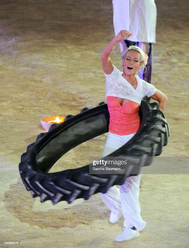 Sabrina Wasserthal performs her bet during the Wetten Dass...? Summer Edition on May 23, 2010 in Palma de Mallorca, Spain.