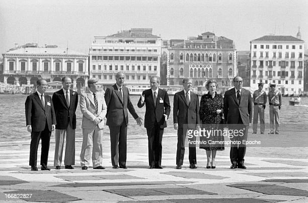 Saburo Okita Pierre Elliot Trudeau Helmut Schmidt Valéry Giscard D'Estaing Francesco Cossiga Jimmy Carter Margaret Thatcher and Roy Jenkins attend...