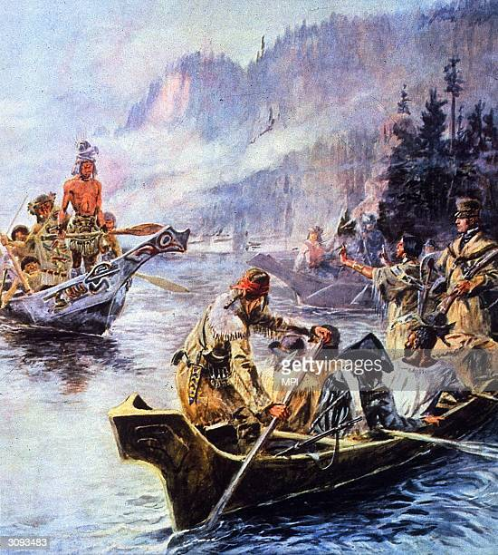Sacajawea interprets Lewis and Clark's intentions to the Chinook Indians Sacajawea a young Shoshone Indian was married to French Canadian fur trader...