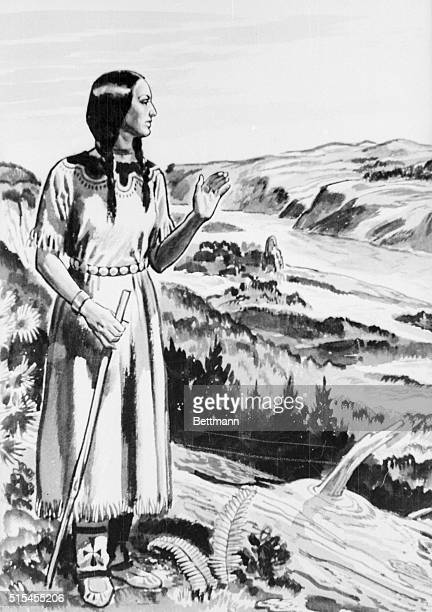 Sacajawea the birdwoman and guide of the Louis and Clark expedition is shown in a countryside setting