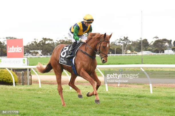 Sacambaya ridden by Liam Riordan goes out for the Save the Date BM64 Handicap at Warracknabeal Racecourse on September 02 2017 in Warracknabeal...