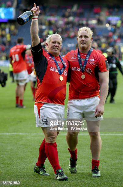 Sacarens' Petrus Du Plessis and Vincent Koch celebrate after winning the European Champions Cup Final at BT Murrayfield Edinburgh