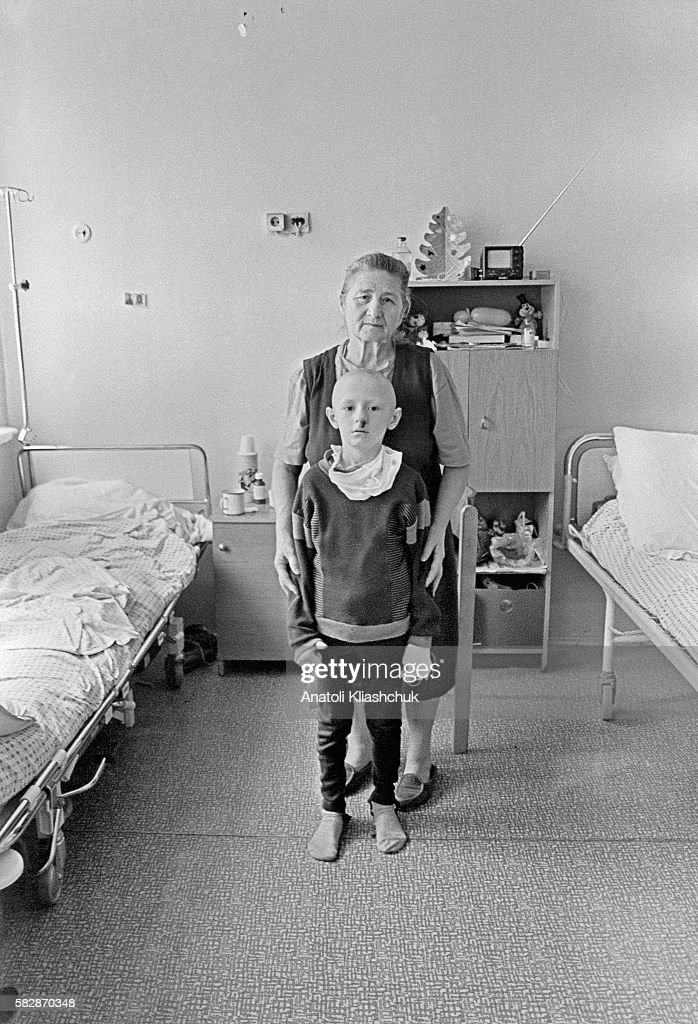 Sacha aged 11 suffering from lung cancer at the children's hospital in Minsk His father who died in 1990 was a liquidator during the Chernobyl...