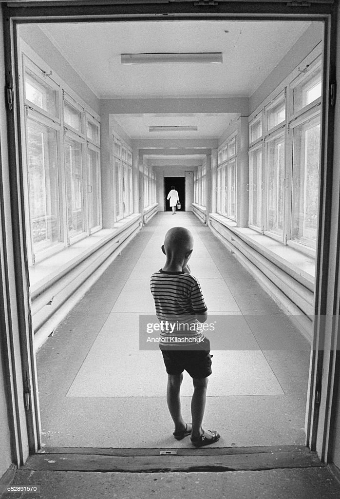 Sacha aged 7 suffering from leukaemia at the children's hospital in Minsk He died in July 1995