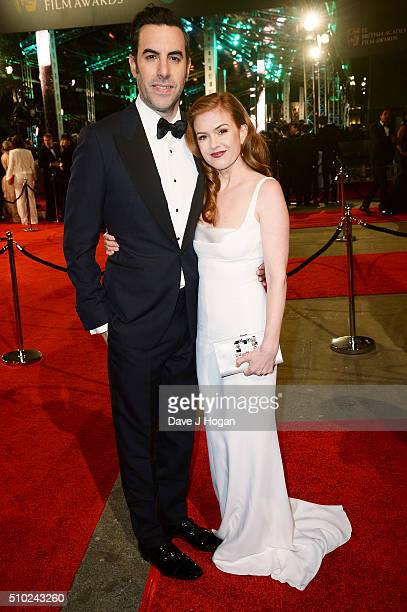 Sacha Baron Cohen and Isla Fisher attend the EE British Academy Film Awards at The Royal Opera House on February 14 2016 in London England