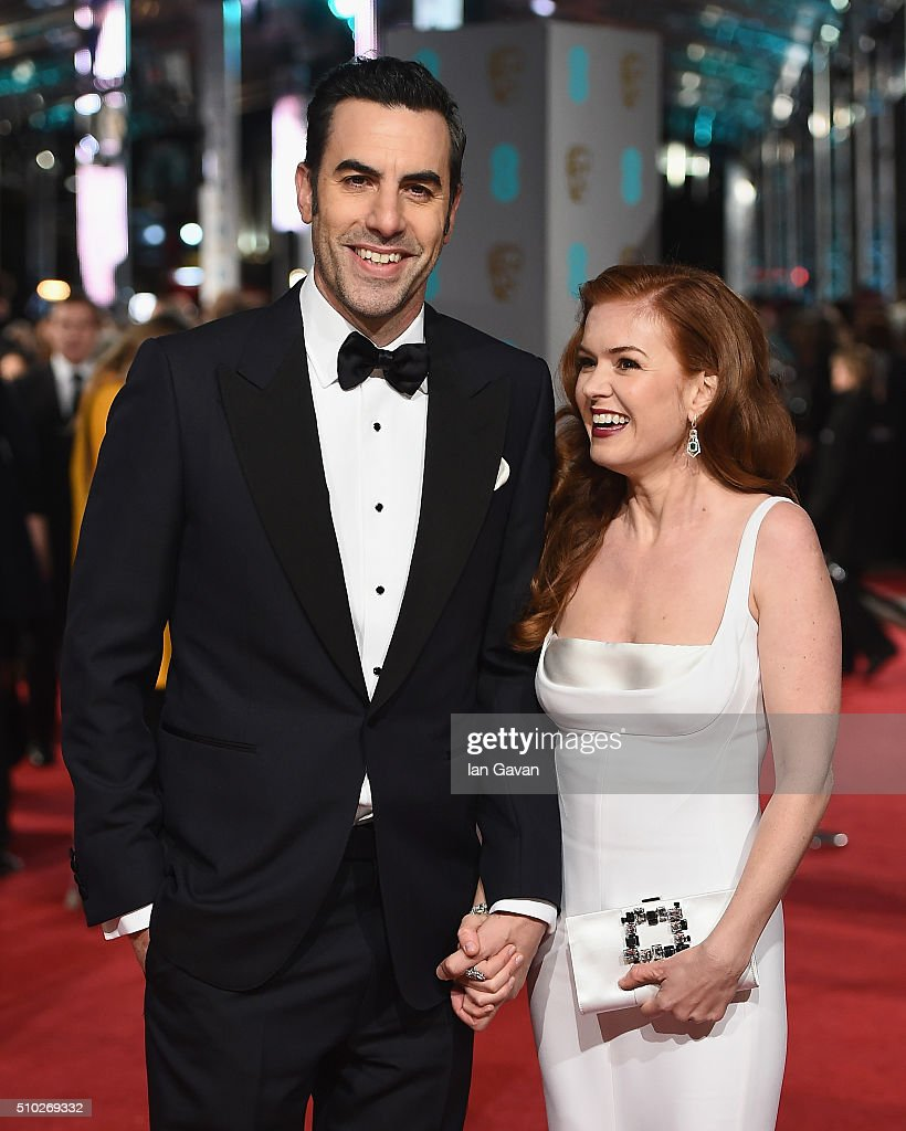 Sacha Baron Cohen and Isla Fisher attend the EE British Academy Film Awards at the Royal Opera House on February 14, 2016 in London, England.