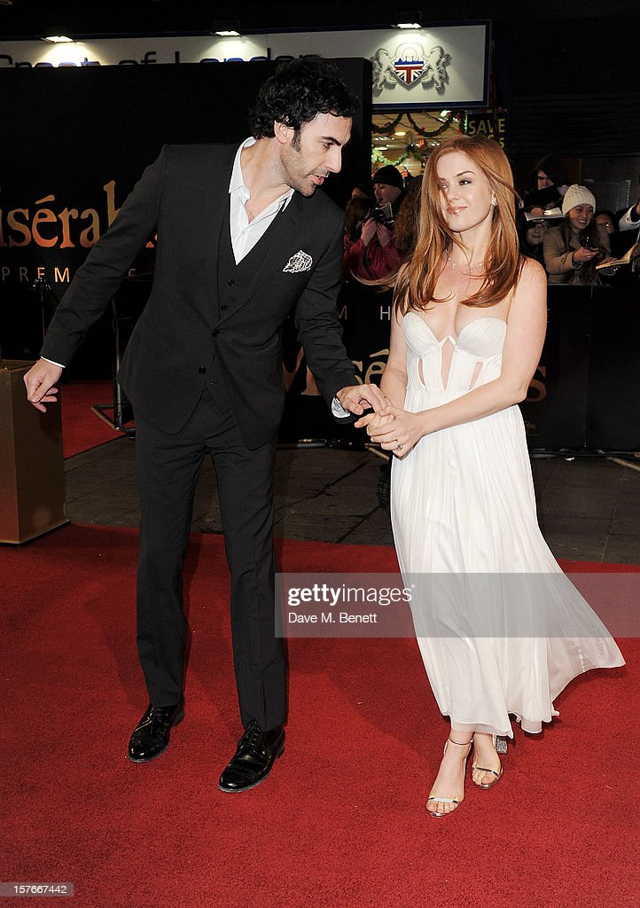 <a gi-track='captionPersonalityLinkClicked' href=/galleries/search?phrase=Sacha+Baron+Cohen&family=editorial&specificpeople=216389 ng-click='$event.stopPropagation()'>Sacha Baron Cohen</a> (L) and <a gi-track='captionPersonalityLinkClicked' href=/galleries/search?phrase=Isla+Fisher&family=editorial&specificpeople=220257 ng-click='$event.stopPropagation()'>Isla Fisher</a> attend the World Premiere of 'Les Miserables' at Odeon Leicester Square on December 5, 2012 in London, England.