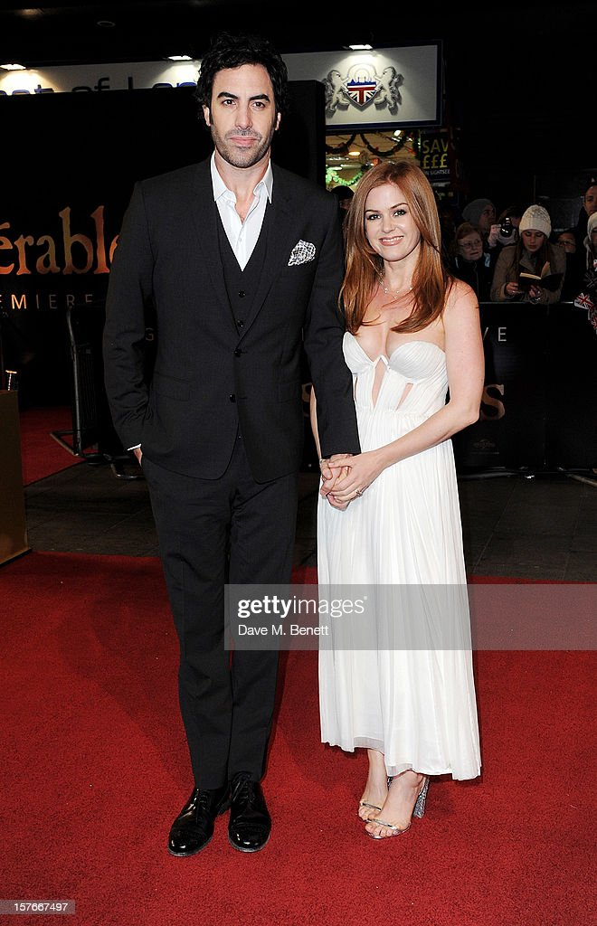 Sacha Baron Cohen (L) and Isla Fisher attend the World Premiere of 'Les Miserables' at Odeon Leicester Square on December 5, 2012 in London, England.