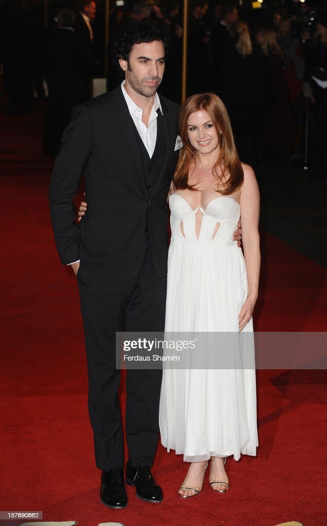 Sacha Baron Cohen and Isla Fisher attend the World Premiere of 'Les Miserables' at Odeon Leicester Square on December 5, 2012 in London, England.