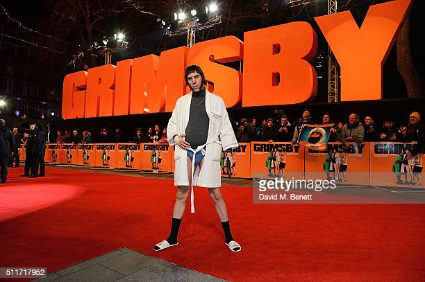 Sacha Baron Cohen as character Norman 'Nobby' Grimsby arrives for the World premiere of 'Grimsby' at Odeon Leicester Square on February 22 2016 in...
