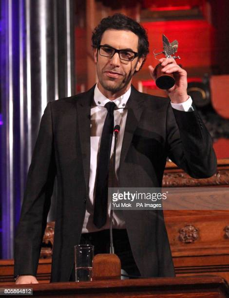 Sacha Baron Cohen with his Peter Sellers Award for Comedy at the Evening Standard Film Awards at The Movieum in County Hall London