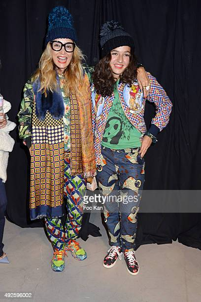 Sacha Haillote and dughter Lily Haillote attend the Paul and Joe showBack Stage as part of the Paris Fashion Week Womenswear Spring/Summer 2016 on...