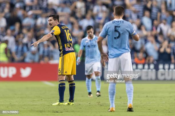 Sacha Kljestan of New York Red Bulls directs his teammates in the US Open Cup Final match against Sporting Kansas City at Children's Mercy Park on...
