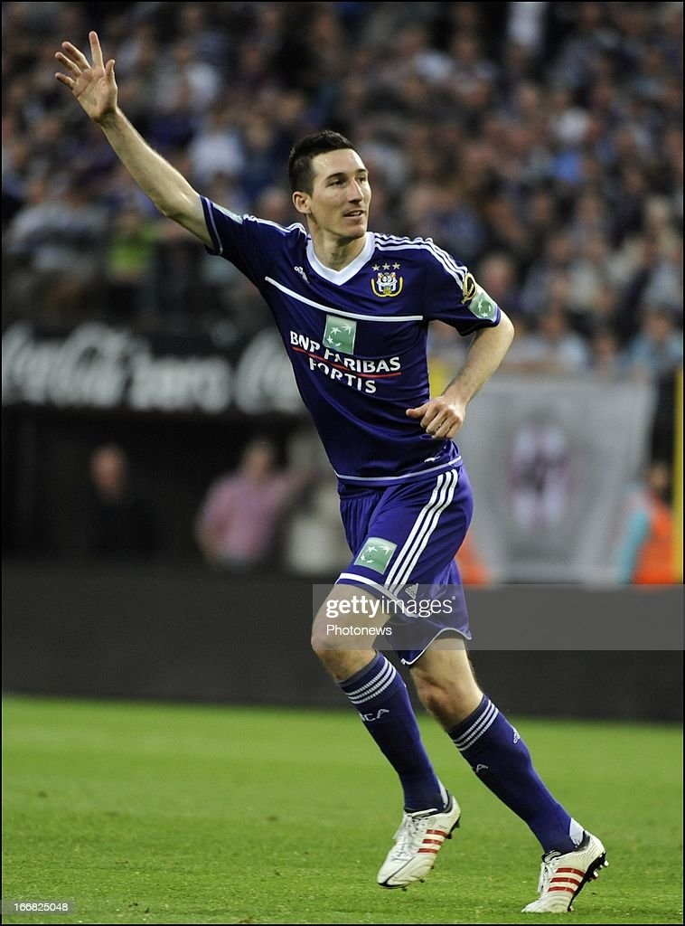 Sacha Kljestan of RSC Anderlecht celebrates scoring a goal during the Jupiler League play-off 1 match between RSC Anderlecht and Sporting Lokeren OVL on April 17, 2013 in the Constant Vanden Stock Stadium in Anderlecht, Belgium.