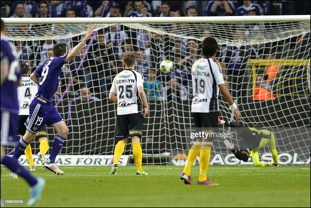 Sacha Kljestan of RSC Anderlecht scores 3-0 during the Jupiler League play-off 1 match between RSC Anderlecht and Sporting Lokeren OVL on April 17, 2013 in the Constant Vanden Stock Stadium in Anderlecht, Belgium.