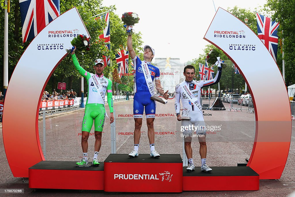 Sacha Modolo of Italy and Bardiani Valvole-CSF Inox, Arnaud Demare of France and FDJ and Fabio Sabatini of Italy and Cannondale stand on the podium after the London - Surrey Classic from the Queen Elizabeth Olympic Park to The Mall on August 4, 2013 in London, England.