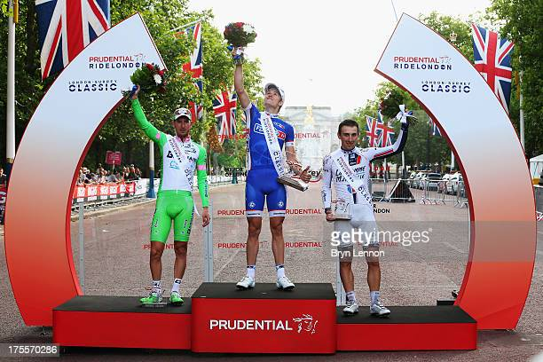 Sacha Modolo of Italy and Bardiani ValvoleCSF Inox Arnaud Demare of France and FDJ and Fabio Sabatini of Italy and Cannondale stand on the podium...
