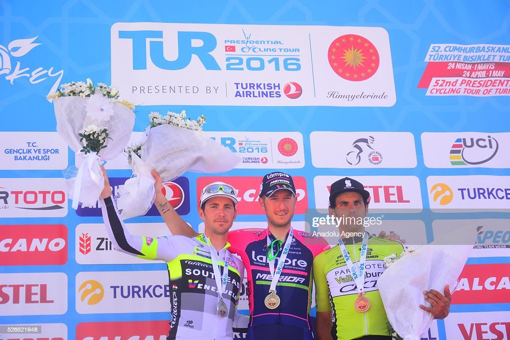 Sacha Modolo (C) of Lampre-Merida, Manuel Belletti (L) of Southeast Venezuela and Marco Zanotti (R) of Parkhotel Valkenburg Continential celebrate on the podium after the Fethiye-Marmaris lap on the 7th stage of the 52nd Presidential Cycling Tour of Turkey in Mugla, Turkey on April 30, 2016.