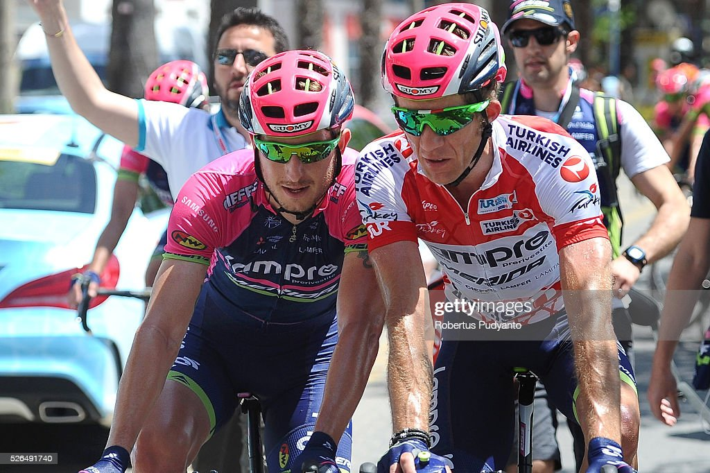 Sacha Modolo of Lampre-Merida (L) talks to Przemyslaw Niemiec of Lampre-Merida (R) after winning Stage 7 of the 2016 Tour of Turkey, Fethiye to Marmaris (128.5 km) on April 30, 2016 in Fethiye, Turkey.