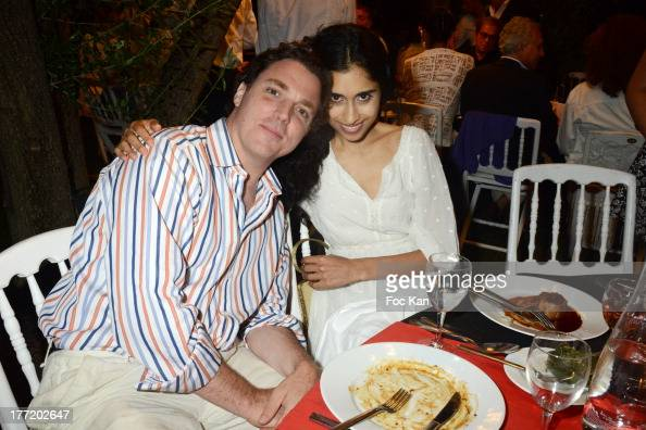 Sacha Newley and Sheela Raman attend the Massimo Gargia's Birthday Dinner at Moulins de Ramatuelle on August 21 2013 in Saint Tropez France