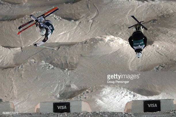 Sacha Theocharis of France and Matt Graham of Australia go airborne off the last jump as they face off in the round of 16 in the men's FIS Freestyle...