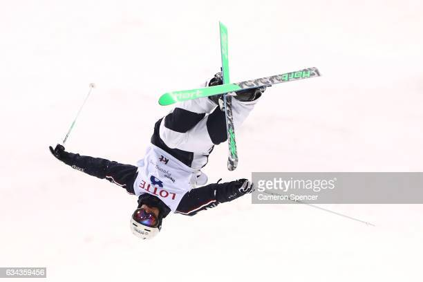 Sacha Theocharis of France performs an air during a men's moguls training session prior to the FIS Freestyle World Cup at Bokwang Snow Park on...