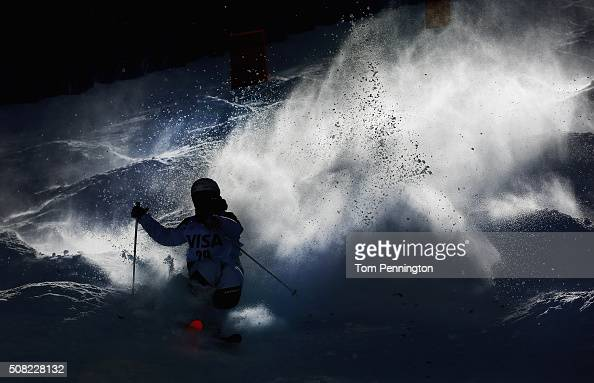 Sacha Theocharis of France takes a practice run for the men's moguls for the 2016 FIS Freestyle Ski World Cup at Deer Valley Resort on February 3...