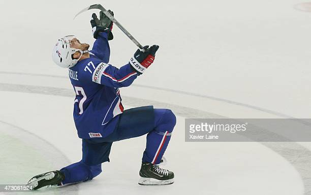Sacha Treille of France celebrate his goal of equalisation during the 2015 IIHF World Championship between Latvia and France at O2 arena on May...