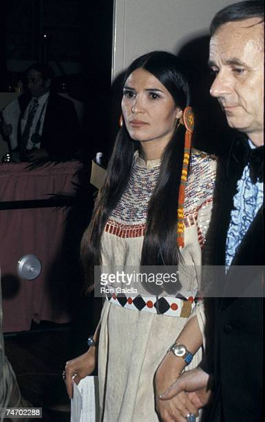Sacheen Littlefeather who read a statement from Marlon Brando declining his Best Actor Academy Award for 'The Godfather' during the 45th Annual...