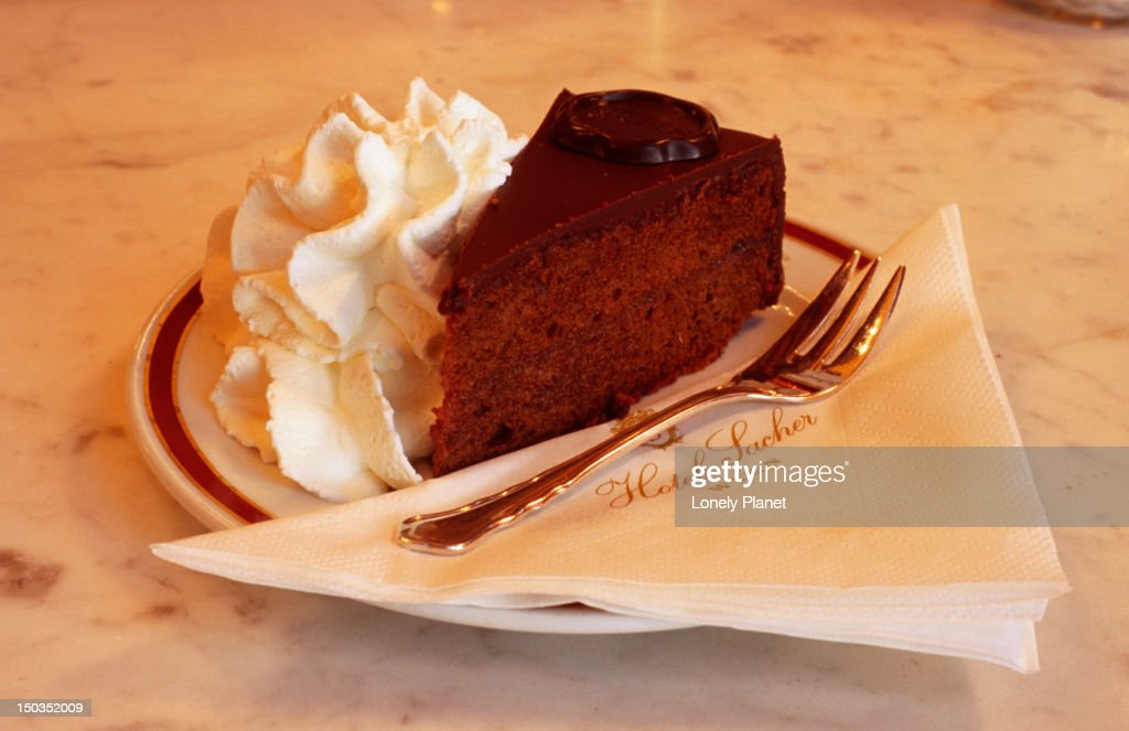 Sacher torte cake at Cafe Sacher, Innere Stadt. : Stock Photo