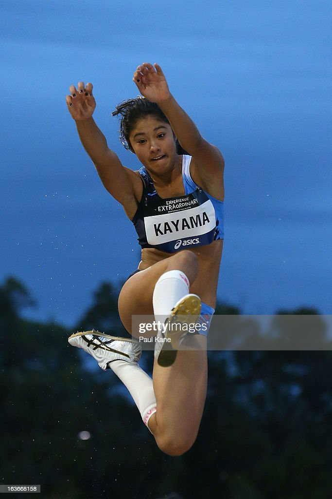 Sachi Kayama of New South Wales competes in the women's u18 long jump during day three of the Australian Junior Championships at the WA Athletics Stadium on March 14, 2013 in Perth, Australia.