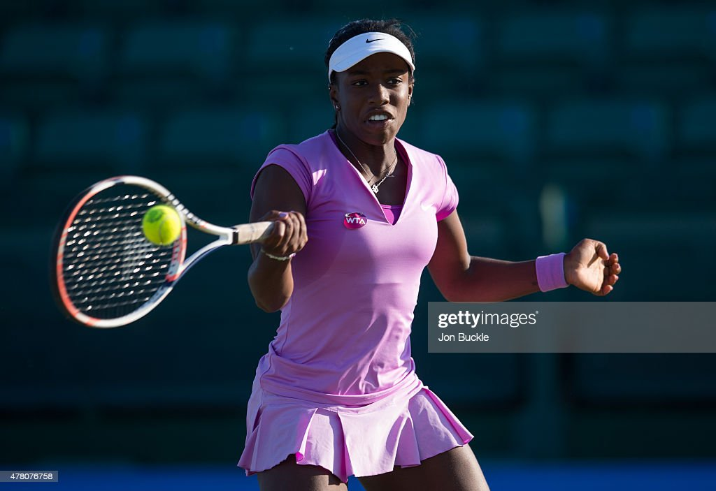 Sachia Vickery of USA returns a shot during her match against Zarina Diyas of Kazakhstan on day four of the WTA Aegon Open Nottingham at Nottingham Tennis Centre on June 11, 2015 in Nottingham, England.