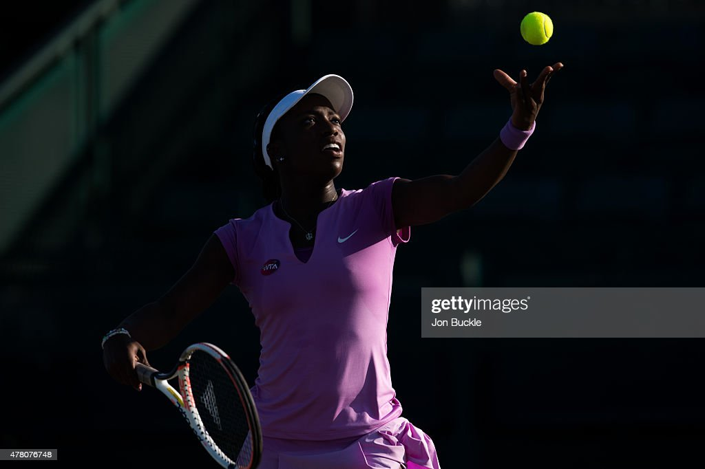Sachia Vickery of USA serves the ball during her match against Zarina Diyas of Kazakhstan on day four of the WTA Aegon Open Nottingham at Nottingham Tennis Centre on June 11, 2015 in Nottingham, England.