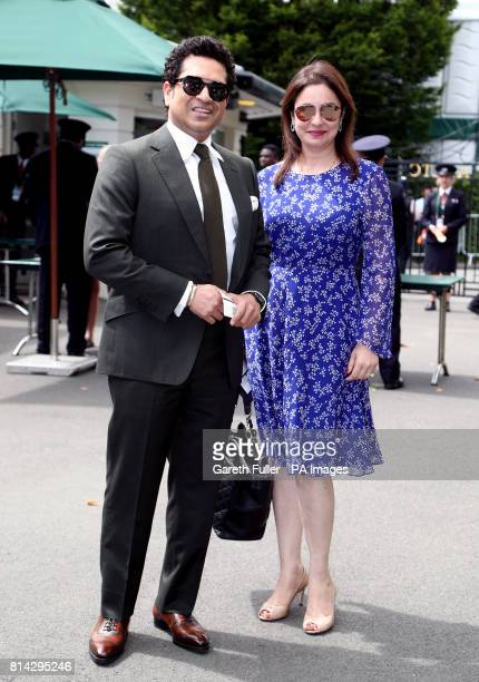 Sachin and Anjali Tendulkar arrive on day eleven of the Wimbledon Championships at The All England Lawn Tennis and Croquet Club Wimbledon