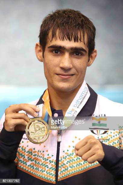 Sachin of India pose with gold medal during the presentation forBoys 49 kg Gold Medal on day 6 of the 2017 Youth Commonwealth Games at Kendal G L...