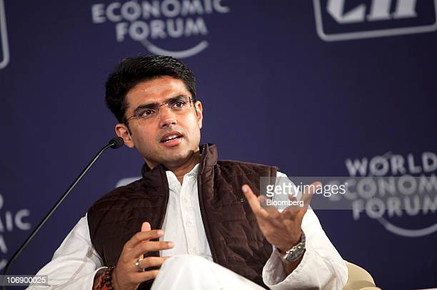 Sachin Pilot India's minister for computers and telecommunications speaks during the World Economic Forum's India Economic Summit in New Delhi India...