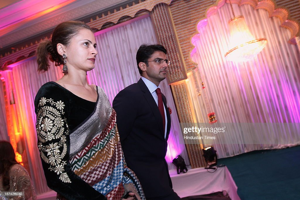 MP Sachin Pilot with his wife Sarah Pilot attending the marriage reception of YES Bank founder Rana Kapoor's daughter at Taj Palace on November 30, 2012 in New Delhi, India. Kapoor is the MD & CEO of YES Bank, which is the 4th largest private sector bank in the country.