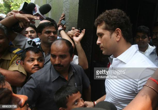 Sachin Tendulakr addresses the media after shifting to his new house on Perry Cross Road Bandra