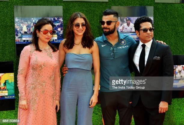 Sachin Tendulkar Anjali Tendulkar Virat Kohli and Anushka Sharma at the screening of Sachin A Billion Dreams in Mumbai