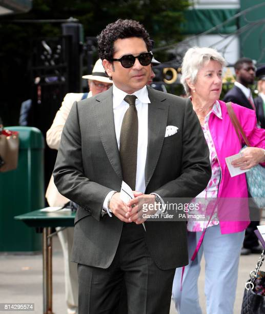 Sachin Tendulkar arrives on day eleven of the Wimbledon Championships at The All England Lawn Tennis and Croquet Club Wimbledon