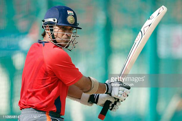 Sachin Tendulkar bats during a Indian nets session at the Punjab Cricket Association Stadium on March 28 2011 in Mohali India India will play...