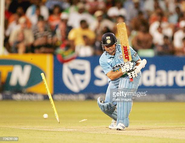 AFRICA NOVEMBER 22 Sachin Tendulkar bowled by Andre Nel for 35 during the Second One Day International between South Africa and India at Kingsmead...