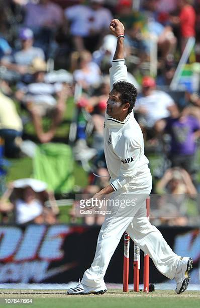 Sachin Tendulkar bowling during day 2 of the 1st Test match between South Africa and India at SuperSport Park on December 17 2010 in Centurion South...