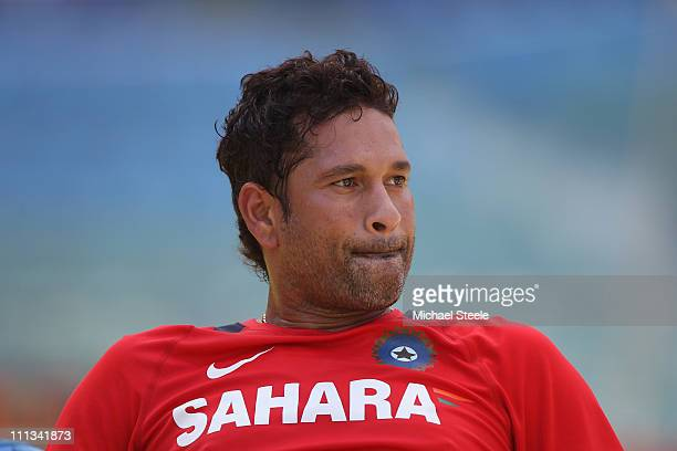 Sachin Tendulkar during the India nets session at the Wankhede Stadium on April 1 2011 in Mumbai India